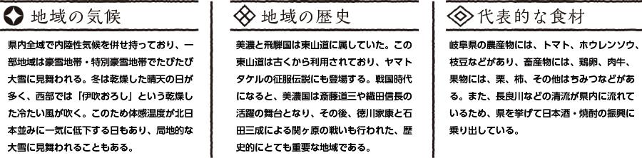 岐阜県の特徴