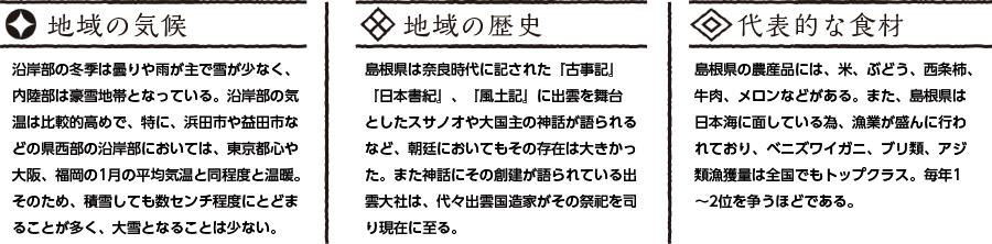 島根県の特徴