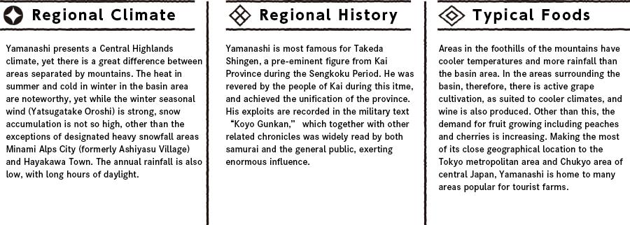 Yamanashiの特徴