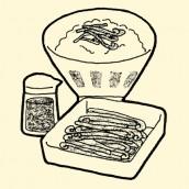 Brackens preserved in soy sauce