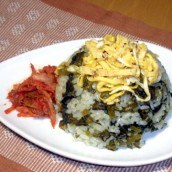 Mustard leaf pickle and rice